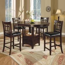 Cappuccino Dark Cherry Storage Counter Height Leaf Pub Table - Counter height kitchen table with storage