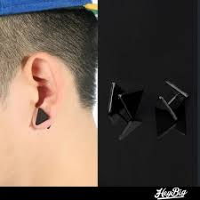 black stud earrings for men buy triangle earring black stud earrings brinco men women