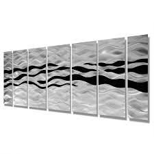 huge contemporary abstract black silver metal wall art decor