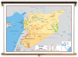 Asia Physical Map by Syria Physical Educational Wall Map From Academia Maps