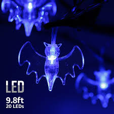 Led Lights Halloween 9 8ft 20 Leds String Lights With Bat Pendants Spooky Halloween