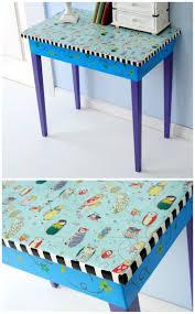 Upcycle Laminate Furniture - upcycled furniture mod podge fabric table decoupage learning