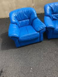 Blue Leather Chair Bright Blue Leather Sofa In Londonderry County Londonderry