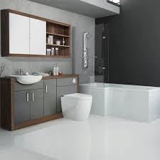 Bathroom Fitted Furniture Designer Grey Bathroom Fitted Furniture Suite With Shower Bath L