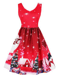 christmas cocktails vintage vintage christmas snowflake tree print pin up dress red m in