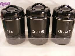 bnib set of 3 black stainless steel kitchen canisters coffee tea