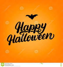 happy halloween hand written lettering card stock vector image