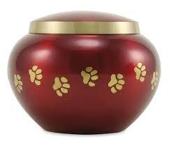 small urn small crimson brass odyssey paw print pet cremation urn