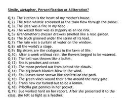 figurative language simile metaphor personification