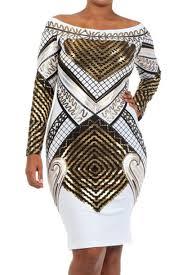 dress metallic white egyptian print long sleeve dress metallic