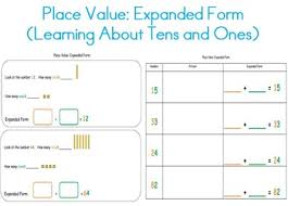 place value in expanded form place value expanded form tens ones for kindergarten 1st 2nd