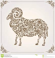 sheep with floral design stock vector image of illustration