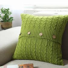 Knitted Cushions With Buttons 100 Cotton Knitted Crochet Cushion Cover 45 45cm Double Twisted