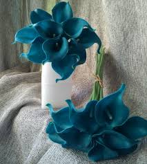 calla lilies bouquet 10 stems teal calla lilies bouquet flowers real touch teal blue