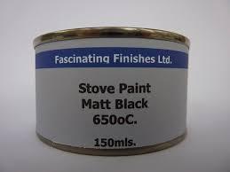 1 x 150ml matt black heat resistant stove paint for wood burner