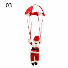 tree santa claus snowman hanging ornament parachute home