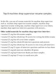 top 8 machine shop supervisor resume samples 1 638 jpg cb u003d1431861953