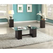 earleen 3 piece coffee end table set in espresso and clear glass