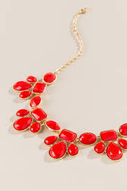 red necklace statement images Game day teardrop statement necklace in red francesca 39 s tif&a
