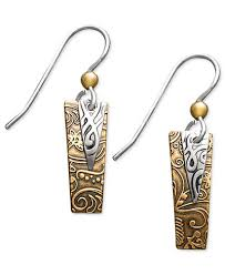 jody coyote jody coyote bronze and silver plated earrings rectangle drop
