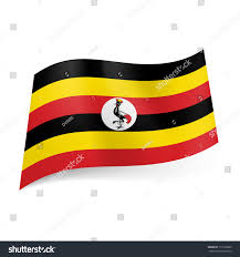 Black Red And Yellow Flag National Flag Uganda Alternation Black Yellow Stock Vector