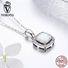 stone necklace pendants images Voroco pure 925 sterling silver square opal stone necklace jpg
