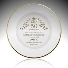 50th anniversary gold plate golden 50th wedding anniversary glass plate