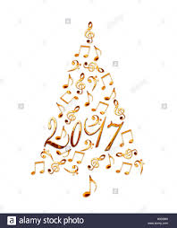 2017 christmas tree with golden metal musical notes isolated on
