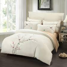 Cotton Bedding Sets Amazing Embroidery Plum Tree Magpie Birds Cotton Bedding Sets