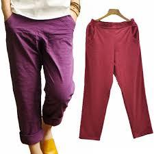 Comfortable Trousers For Women Aliexpress Com Buy Women Pants Cotton Linen Elastic Waist Purple
