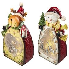 Costco Lighted Snowman by Lighted Reindeer U0026 Snowman Figurine Set Of 2