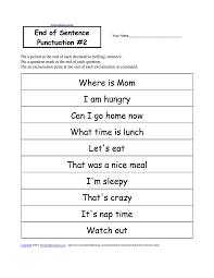 punctuation worksheets grade 1 worksheets