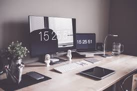 minimalist home office workspace desk setup free stock photo
