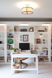 Bookcases With Lights Office Makeover Reveal Ikea Hack Built In Billy Bookcases