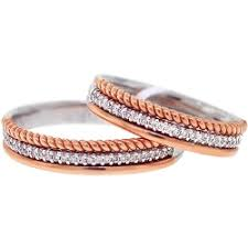 wedding rings his hers diamond wedding rings his vintage set 18k two tone gold