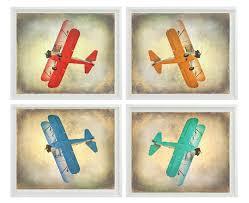 Aviation Home Decor Vintage Airplane Art Print Set Sale 25 Off Nursery Boys