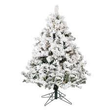4 5 ft pre lit flocked alaskan pine artificial tree