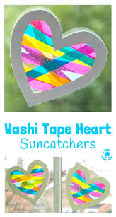 washi tape heart suncatcher craft heart crafts washi tape and washi