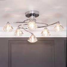 Diamond Semi Flush Ceiling Light  Light Chrome From Litecraft - Dining room ceiling lights