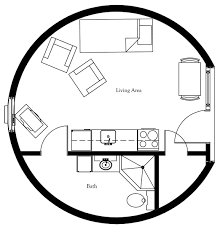 this spacious two bedroom round house design features a large