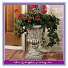 cast iron black urn planter chinese manufacture made cast iron