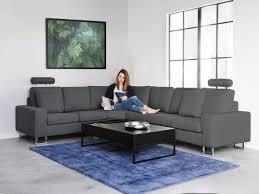 canap d angle bois et chiffon canapé d angle canapé en tissu gris sofa stockholm beliani fr