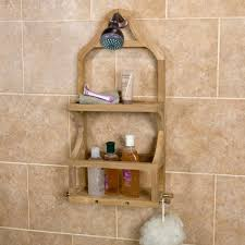 teak shower caddy with removable soap dish bathroom