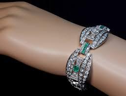 art deco diamond emerald platinum bracelet c 1915 antique