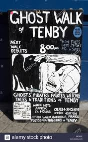 ghost walk sign tenby pembrokeshire wales stock photo royalty