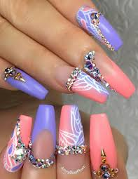 purple pink rhinestone nails design nailart jonnydieppham nails