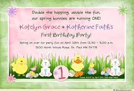 double spring bunny birthday invitation easter eggs animals