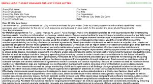 lead it asset manager analyst cover letter