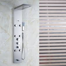 mcelmo chrome finish massage shower panel system with shower head