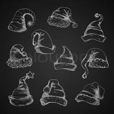 santa hats vector pencil sketch icons new year and christmas